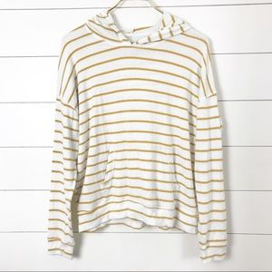 American Eagle Mustard Striped Hoodie Pullover